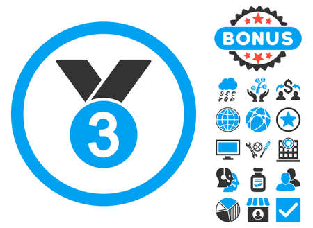 Bronze Medal icon with bonus images. Vector illustration style is flat iconic bicolor symbols, blue and gray colors, white background.