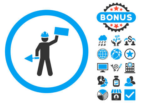 creator: Builder With Shovel icon with bonus symbols. Vector illustration style is flat iconic bicolor symbols, blue and gray colors, white background.