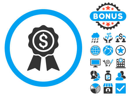 Business Award icon with bonus symbols. Vector illustration style is flat iconic bicolor symbols, blue and gray colors, white background.