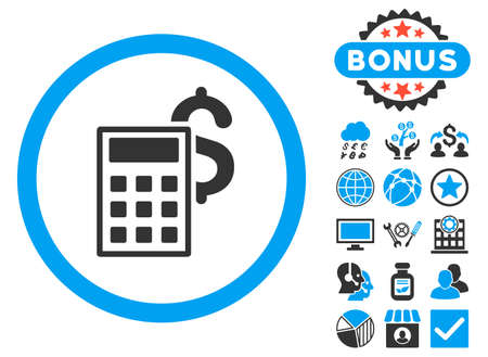 adder: Business Calculator icon with bonus symbols. Vector illustration style is flat iconic bicolor symbols, blue and gray colors, white background.