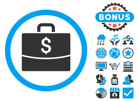 Business Case icon with bonus images. Vector illustration style is flat iconic bicolor symbols, blue and gray colors, white background.