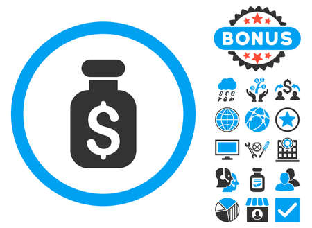 phial: Business Remedy icon with bonus images. Vector illustration style is flat iconic bicolor symbols, blue and gray colors, white background.