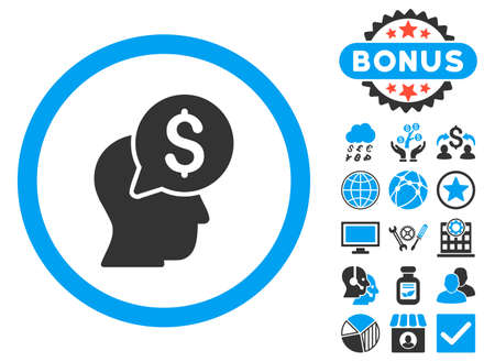 Businessman Think icon with bonus design elements. Vector illustration style is flat iconic bicolor symbols, blue and gray colors, white background.
