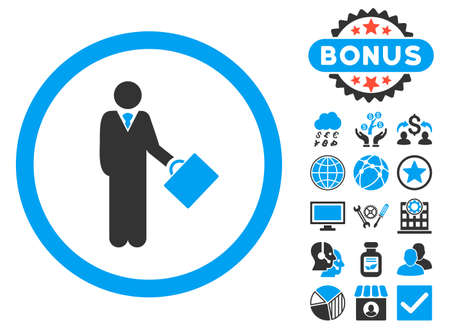 moneymaker: Businessman icon with bonus images. Vector illustration style is flat iconic bicolor symbols, blue and gray colors, white background.