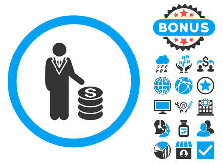 moneymaker: Businessman icon with bonus elements. Vector illustration style is flat iconic bicolor symbols, blue and gray colors, white background.