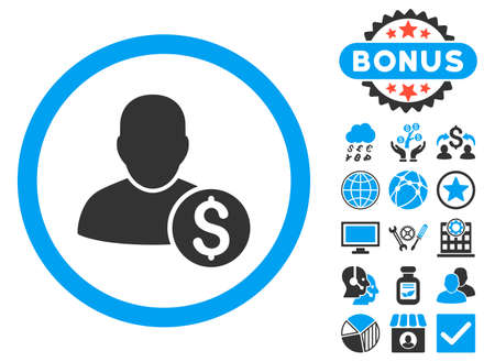 stockbroker: Businessman icon with bonus images. Vector illustration style is flat iconic bicolor symbols, blue and gray colors, white background.
