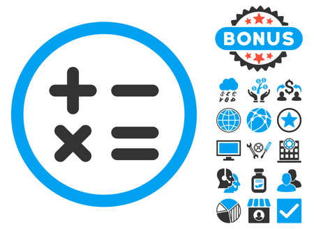 Calculator icon with bonus symbols. Vector illustration style is flat iconic bicolor symbols, blue and gray colors, white background.