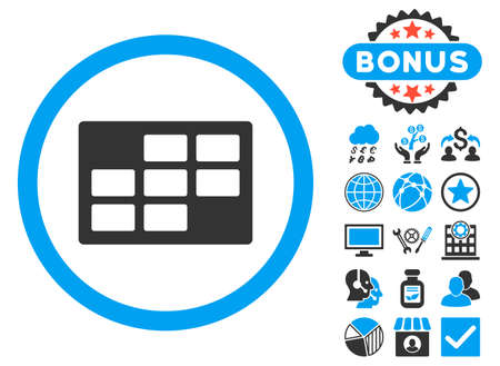 dataset: Calendar Table icon with bonus images. Vector illustration style is flat iconic bicolor symbols, blue and gray colors, white background.