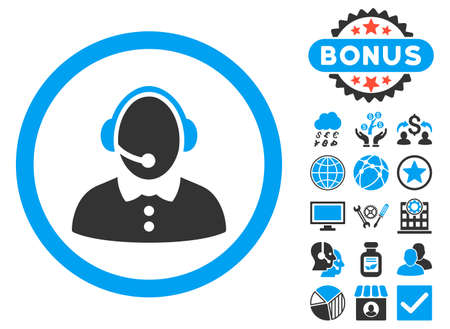 call centre girl: Call Center Woman icon with bonus symbols. Vector illustration style is flat iconic bicolor symbols, blue and gray colors, white background.