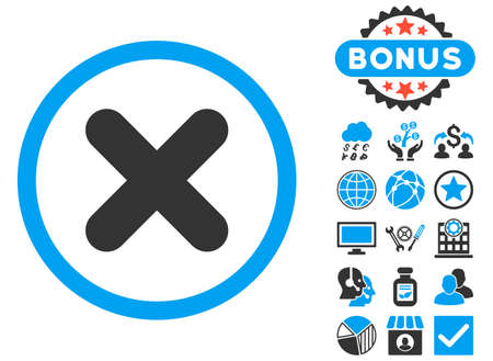 Cancel icon with bonus symbols. Vector illustration style is flat iconic bicolor symbols, blue and gray colors, white background. Illustration