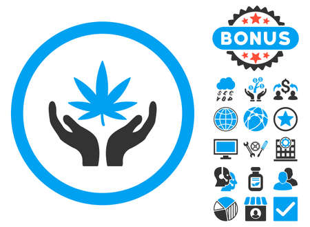 Cannabis Care Hands icon with bonus symbols. Vector illustration style is flat iconic bicolor symbols, blue and gray colors, white background.