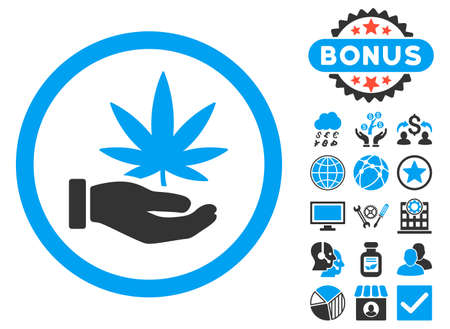 Cannabis Offer Hand icon with bonus symbols. Vector illustration style is flat iconic bicolor symbols, blue and gray colors, white background.