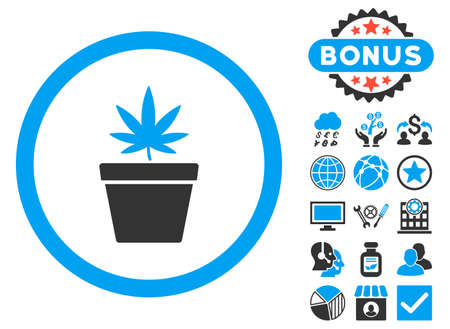 cannabinol: Cannabis Pot icon with bonus pictogram. Vector illustration style is flat iconic bicolor symbols, blue and gray colors, white background.