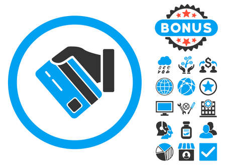Card Payment icon with bonus elements. Vector illustration style is flat iconic bicolor symbols, blue and gray colors, white background. Ilustração