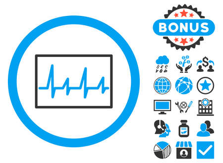 Cardiogram icon with bonus symbols. Vector illustration style is flat iconic bicolor symbols, blue and gray colors, white background.