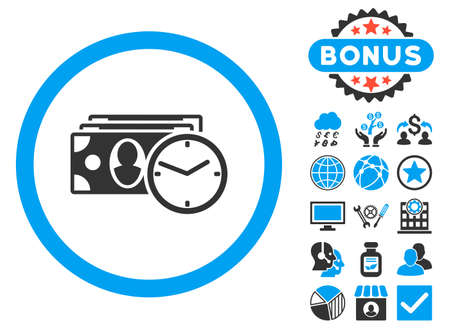 timed: Cash Credit icon with bonus pictogram. Vector illustration style is flat iconic bicolor symbols, blue and gray colors, white background. Illustration