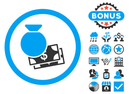 Cash Money icon with bonus pictogram. Vector illustration style is flat iconic bicolor symbols, blue and gray colors, white background.