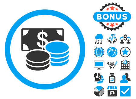 Cash icon with bonus elements. Vector illustration style is flat iconic bicolor symbols, blue and gray colors, white background. Illustration