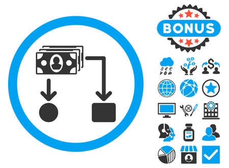 cashflow: Cashflow icon with bonus pictogram. Vector illustration style is flat iconic bicolor symbols, blue and gray colors, white background.