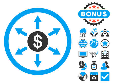 Cashout icon with bonus symbols. Vector illustration style is flat iconic bicolor symbols, blue and gray colors, white background.