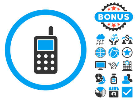 cell phone icon: Cell Phone icon with bonus symbols. Vector illustration style is flat iconic bicolor symbols, blue and gray colors, white background.