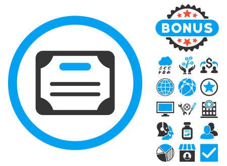 Icône de certificat avec des éléments de conception de bonus. Style d'illustration vectorielle est plat emblématiques symboles bicolor, couleurs bleus et gris, fond blanc.