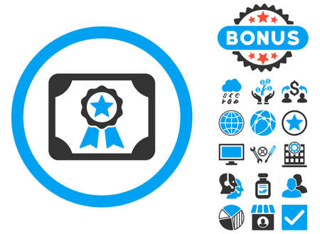 attest: Certificate icon with bonus pictures. Vector illustration style is flat iconic bicolor symbols, blue and gray colors, white background. Illustration