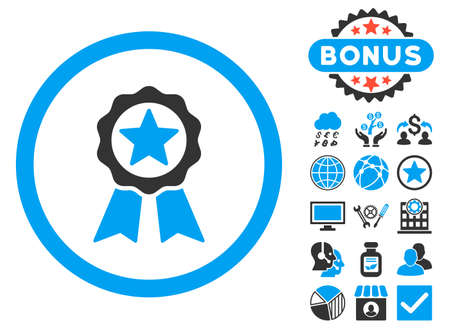 warranty: Certification Seal icon with bonus pictogram. Vector illustration style is flat iconic bicolor symbols, blue and gray colors, white background.