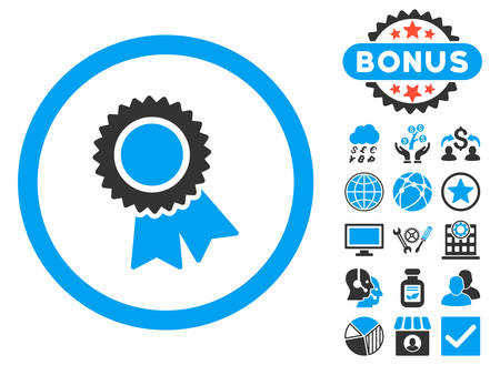 confirmed: Certification icon with bonus symbols. Vector illustration style is flat iconic bicolor symbols, blue and gray colors, white background.