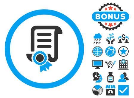 Certified Scroll Document icon with bonus elements. Vector illustration style is flat iconic bicolor symbols, blue and gray colors, white background.
