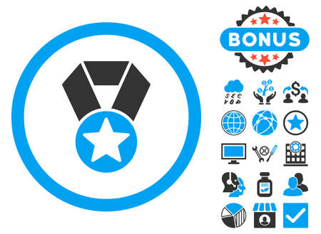 Champion Medal icon with bonus images. Vector illustration style is flat iconic bicolor symbols, blue and gray colors, white background.
