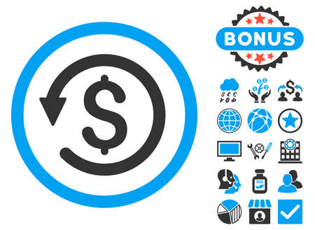 moneyback: Chargeback icon with bonus pictogram. Vector illustration style is flat iconic bicolor symbols, blue and gray colors, white background. Illustration
