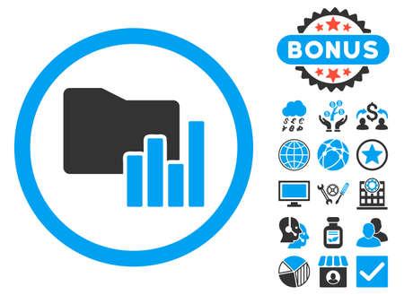 metrics: Charts Folder icon with bonus elements. Vector illustration style is flat iconic bicolor symbols, blue and gray colors, white background. Illustration