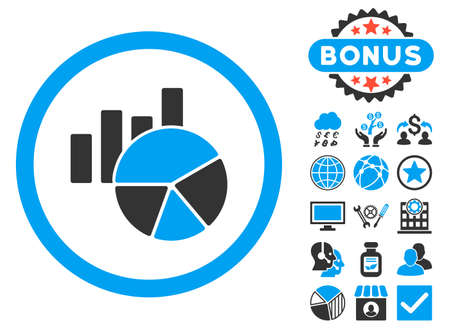 Charts icon with bonus pictogram. Vector illustration style is flat iconic bicolor symbols, blue and gray colors, white background.
