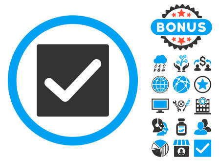 Check icon with bonus design elements. Vector illustration style is flat iconic bicolor symbols, blue and gray colors, white background.