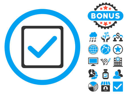 Checkbox icon with bonus pictures. Vector illustration style is flat iconic bicolor symbols, blue and gray colors, white background.