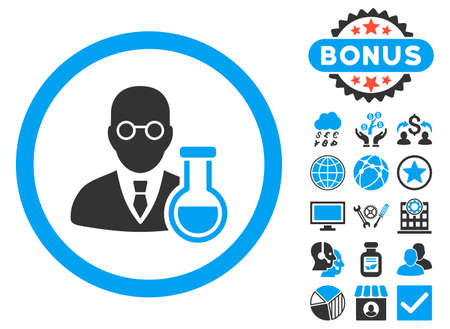 Chemist icon with bonus design elements. Vector illustration style is flat iconic bicolor symbols, blue and gray colors, white background. Illustration
