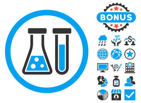 Chemistry icon with bonus pictogram. Vector illustration style is flat iconic bicolor symbols, blue and gray colors, white background.