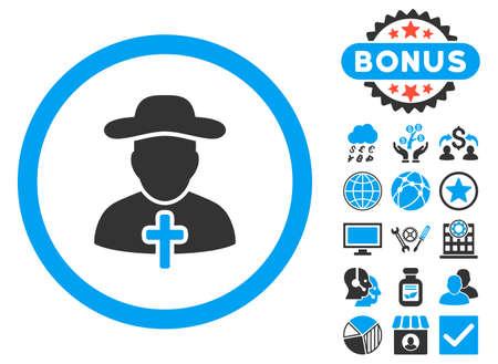 sotana: icono de clérigos con imágenes de bonificación. ilustración vectorial estilo es llano bicolor símbolos icónicos, colores azul y gris, fondo blanco.