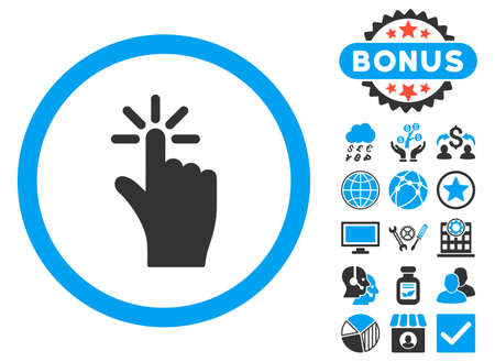 Click icon with bonus images. Vector illustration style is flat iconic bicolor symbols, blue and gray colors, white background.