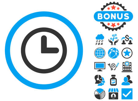 clockface: Clock icon with bonus design elements. Vector illustration style is flat iconic bicolor symbols, blue and gray colors, white background.