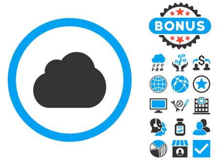 saas: Cloud icon with bonus images. Vector illustration style is flat iconic bicolor symbols, blue and gray colors, white background.