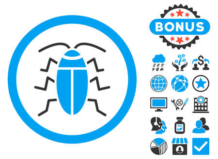 roach: Cockroach icon with bonus pictures. Vector illustration style is flat iconic bicolor symbols, blue and gray colors, white background.