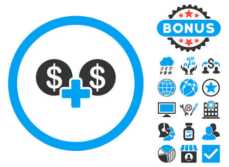 Coins Sum icon with bonus design elements. Vector illustration style is flat iconic bicolor symbols, blue and gray colors, white background. Illustration