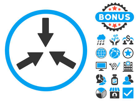 clash: Collide Arrows icon with bonus pictures. Vector illustration style is flat iconic bicolor symbols, blue and gray colors, white background.