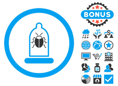 condom: Condom Bug icon with bonus images. Vector illustration style is flat iconic bicolor symbols, blue and gray colors, white background. Illustration