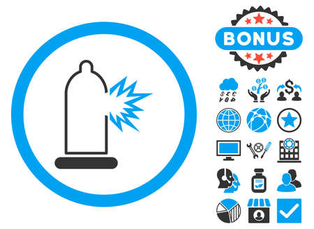Condom Damage icon with bonus elements. Vector illustration style is flat iconic bicolor symbols, blue and gray colors, white background.