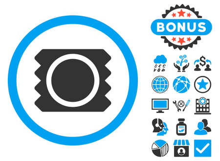 Condom icon with bonus elements. Vector illustration style is flat iconic bicolor symbols, blue and gray colors, white background. Illustration