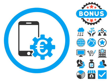 configure: Configure Mobile Euro Bank icon with bonus images. Vector illustration style is flat iconic bicolor symbols, blue and gray colors, white background.
