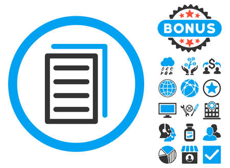 Copy Document icon with bonus symbols. Vector illustration style is flat iconic bicolor symbols, blue and gray colors, white background.